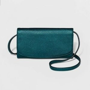 Dark Teal Metallic Faux Leather Wallet on a String